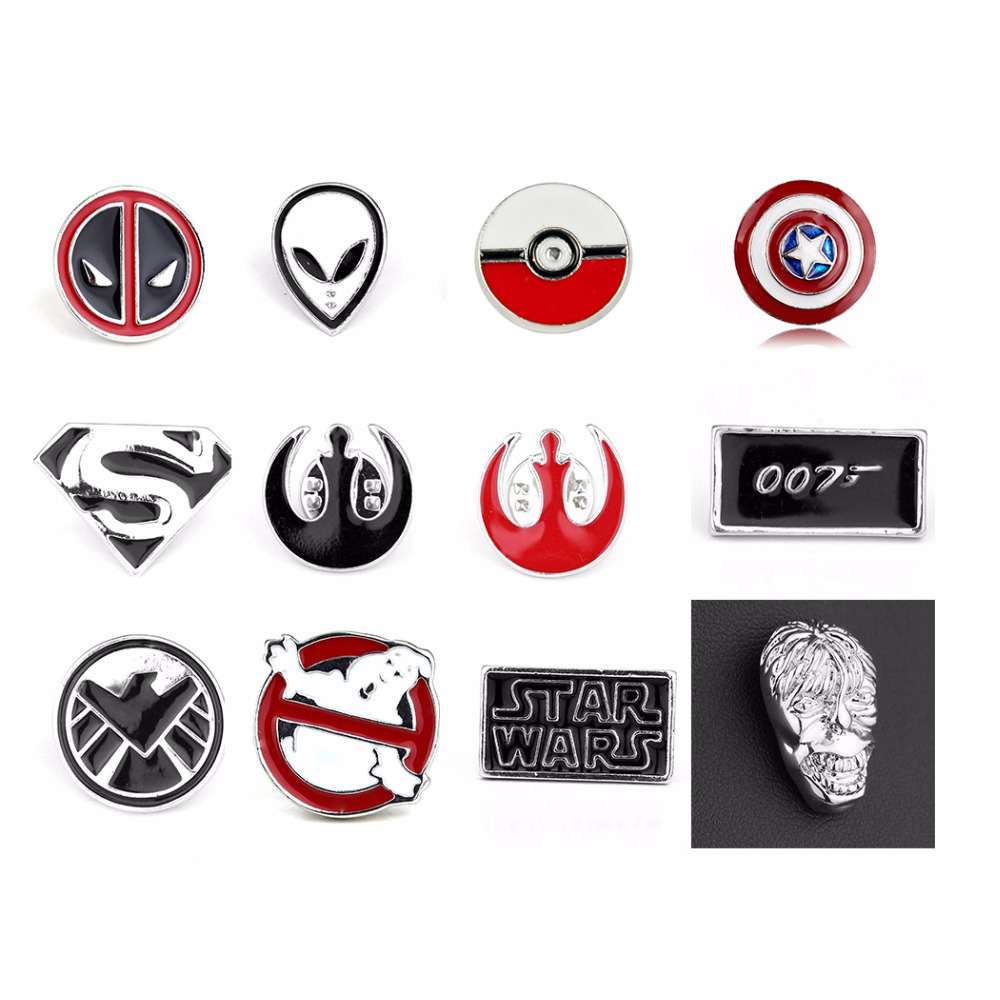 Top Grade Deadpool Pin Brooch Star Wars darth vaderdoctor who brooches jewelry red enamel pin badge fashion Dress Accessory Gift クローバー キャディ バッグ