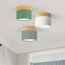 220V bois plafonnier décorations de noël pour la maison luminaires salon allée vers le bas lumières nordique fer Led Downlight