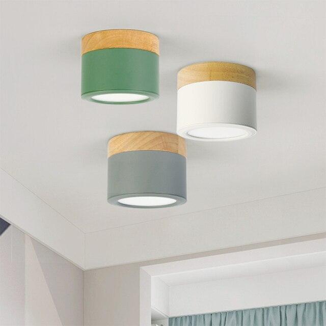 220V drewno lampa sufitowa dekoracje na boże narodzenie dla oprawy oświetleniowe do domu salon pokój/korytarz lampy halogeny Nordic żelaza led typu downlight