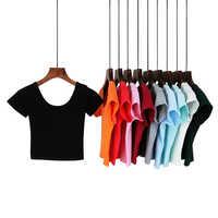 Summer Female T-Shirt Round Neck Short Sleeve Simple Basic Bottoming T-Shirt Cotton High Waist Slim Crop Top Multicolor T-Shirt