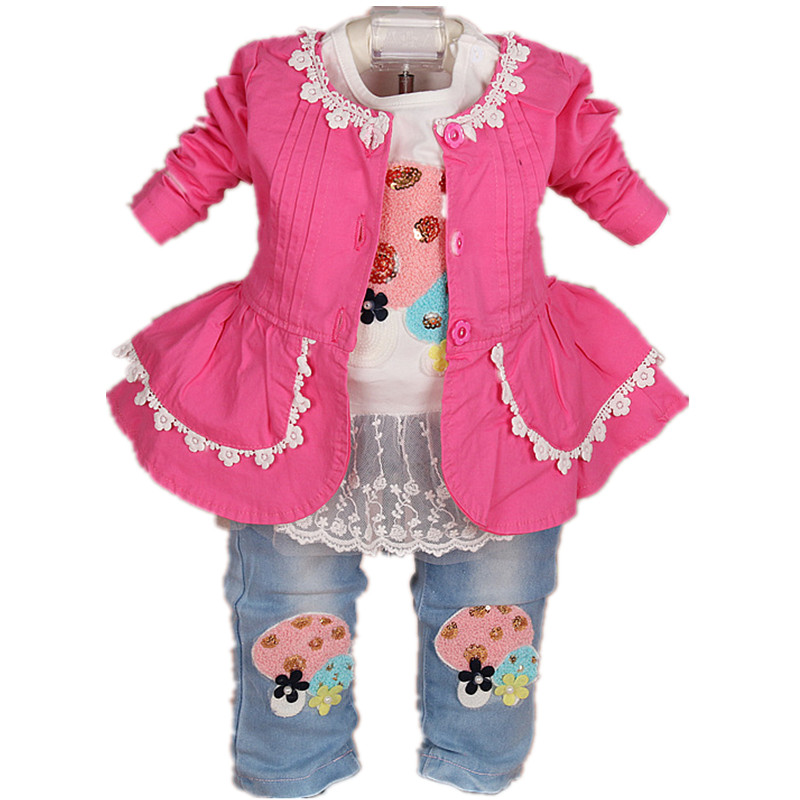 2017 New baby girl clothing set 3pcs girls clothing clothing set girls t shirt kids pants suit set fashion baby girl t shirt set cotton heart print shirt hole denim cropped trousers casual polka dot children clothing set