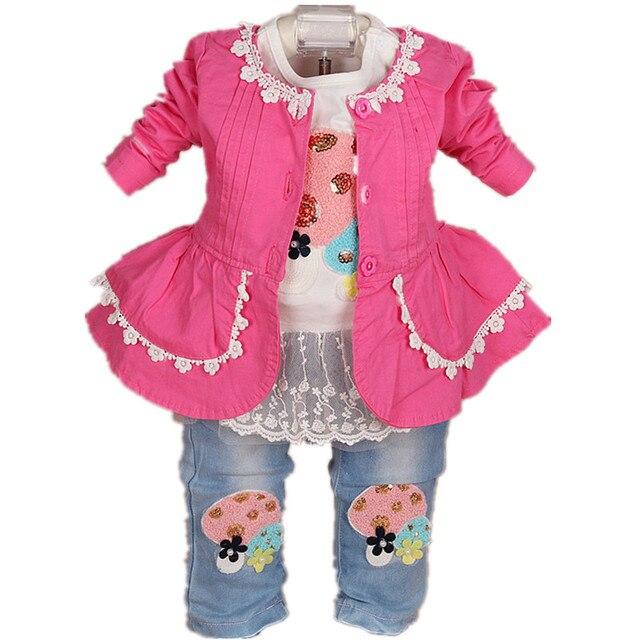 2017 New baby girl clothing set 3pcs girls clothing  clothing set girls t shirt kids pants suit set