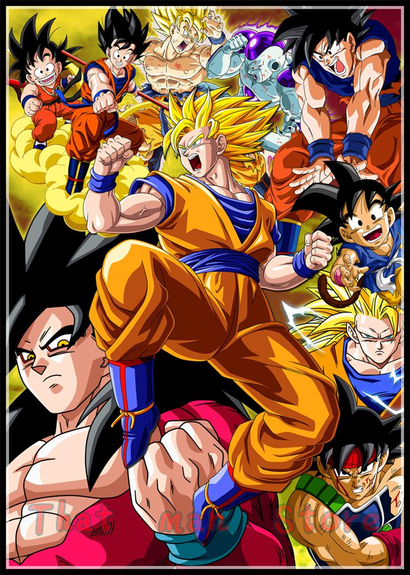 Dragon Ball Z Goku Anime poster white coated paper print painting kids 39 room decoration wall art home decor in Wall Stickers from Home amp Garden