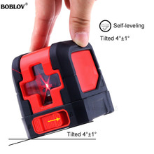 BOBOLOV 2 Lines Laser Level Red Cross Lines Self-leveling Horizontal and Vertical Cross-Line Mini Size