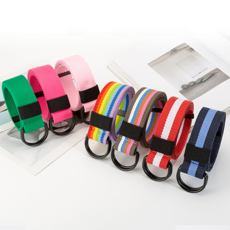 110cm-140cm New Fashion Women Harajuku Belt Unisex Double D Ring Solid Stripe Canvas Buckle Long Belts For Jeans Waistband Strap
