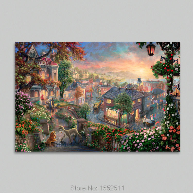 Thomas kinkade oil paintings lady and the tramp art decor - Home interiors thomas kinkade prints ...
