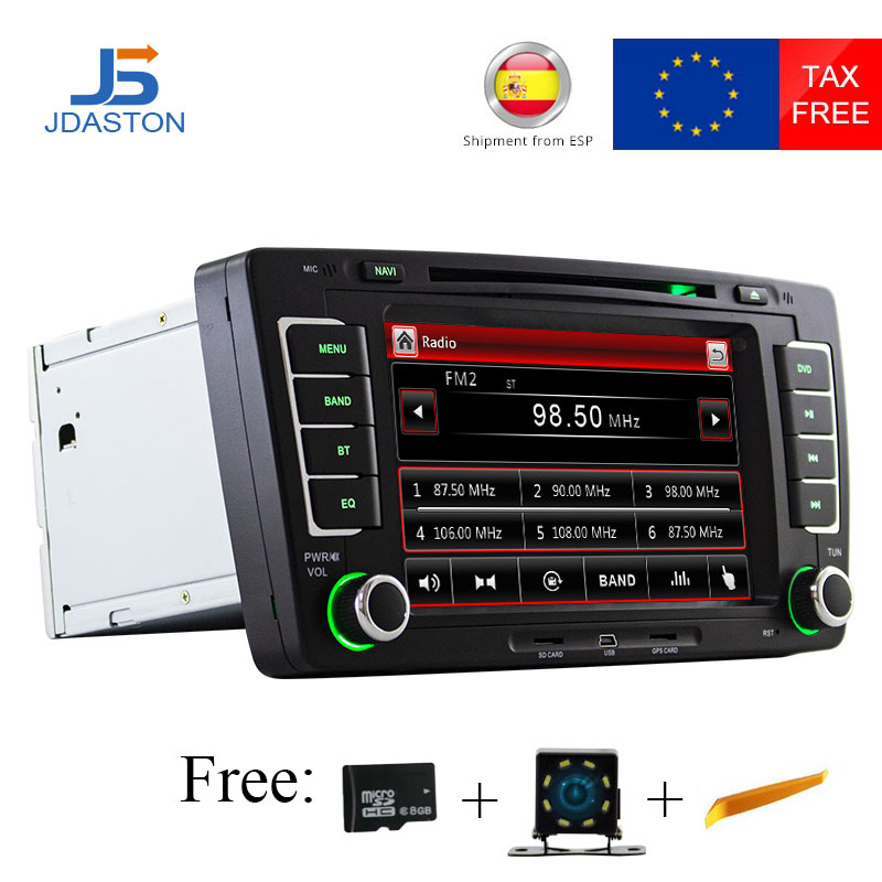 JDASTON 2 Din Car Radio For Skoda Octavia 2005 2008 2013 Car Multimedia DVD CD Player GPS Navigation RDS Radio Stereo Audio Map