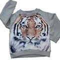 Bebé niños niñas suéteres niños fleece lining suéteres 3d tiger print tops ropa
