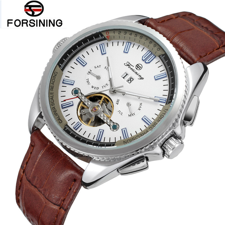 2017 Forsining Watch Mens Watches Top Brand Luxury Day/Week/24Hours Tourbillion PU Leather Watches Wristwatch Gift Box Free Ship