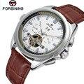 2017 forsining relógio mens relógios top marca de luxo day/week/24 horas turbilhão relógios de couro pu relógio de pulso presente caixa de free ship