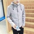 Мужчины Осень Куртка Корейской Slim Fit Плюс Размер Мужские Куртки Мода плюс Размер Твердые Письмо Печати Куртка С Капюшоном Мужчина Пальто Мужская Одежда