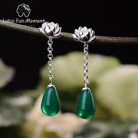 Lotus Fun Moment Real 925 Sterling Silver Natural Original Handmade Fashion Jewelry Water Drop Lotus Drop Earrings for Women