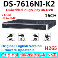 Hikvision Original English Version DS 7616NI K2 Embedded 4K NVR 2HDD Support H 265 2SATA 8MP