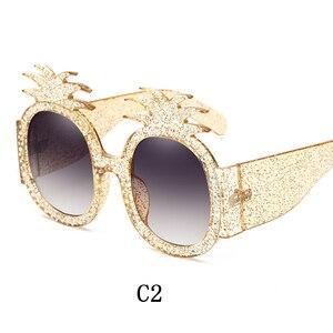 Image 3 - Linther 2019 mới thời trang ngộ nghĩnh Kỳ Dị Thiết kế kính mát cao cấp Kim Cương dứa Kính mát nữ miễn phí vận chuyển