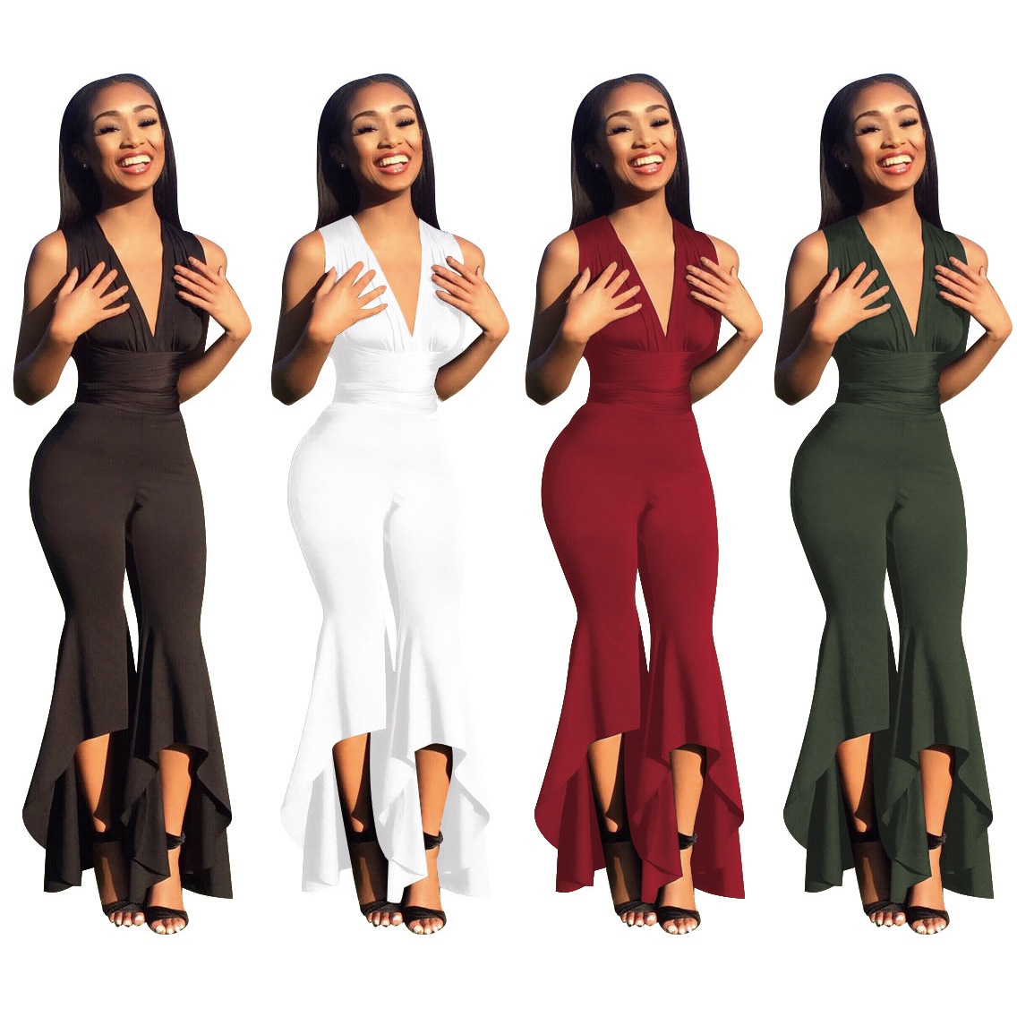 2018 Elegant Jumpsuit Jumpsuit Irregular Womens long plus size jumpsuit