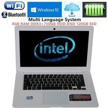 14.1inch win7/8 laptops Computer PC Intel Celeron J1900 2.0GHZ Quad Core 8GB DDR3 750G+120GB SSD WIFI HDMI WEBCAM Slim Ultrabook