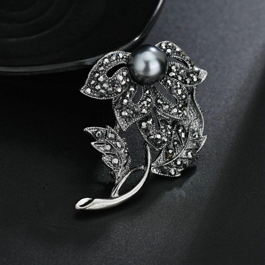 e38581d769ef Katesolo imitación perla broches para mujeres negro Rhinestone hueco flor  árbol hoja broche Boda nupcial vestidos fiesta baile joyería. (31). (33).  (34)