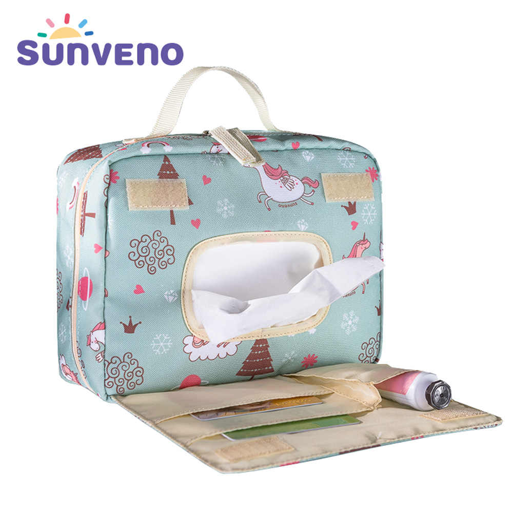 Sunveno Baby Diaper Bags Maternity Bag for Disposable Reusable Fashion Prints Wet Dry Diaper Bag Double Handle Wetbags 21*17*7CM