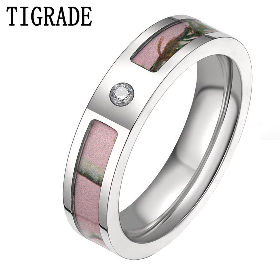 5mm Women's Pink Real Forest Tree Camo Titanium Wedding Ring With Small Cz  Stone Size 5