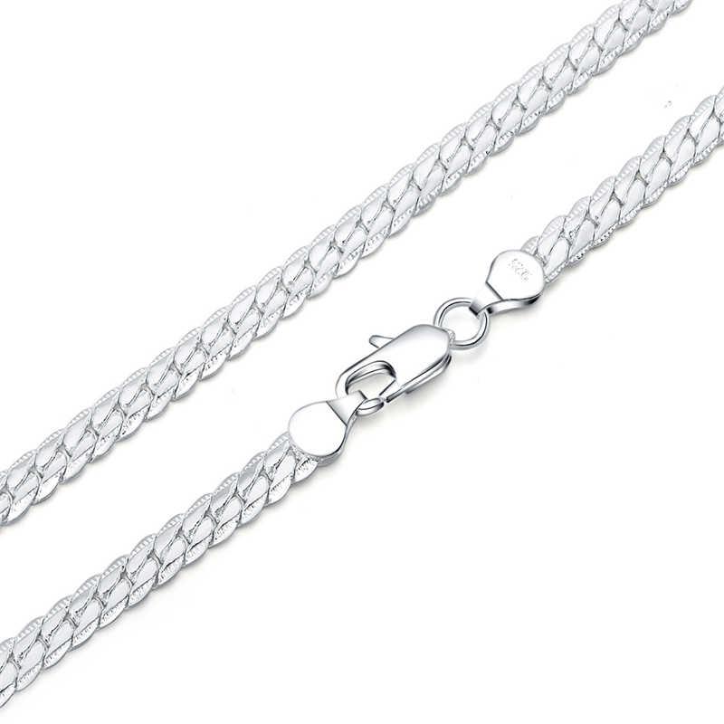 Czysta 925 srebrne bransoletki dla kobiet mężczyzn 5mm wąż łańcuch bransoletka i bransoletki nadgarstek Pulseira biżuteria hurtowych Bijoux