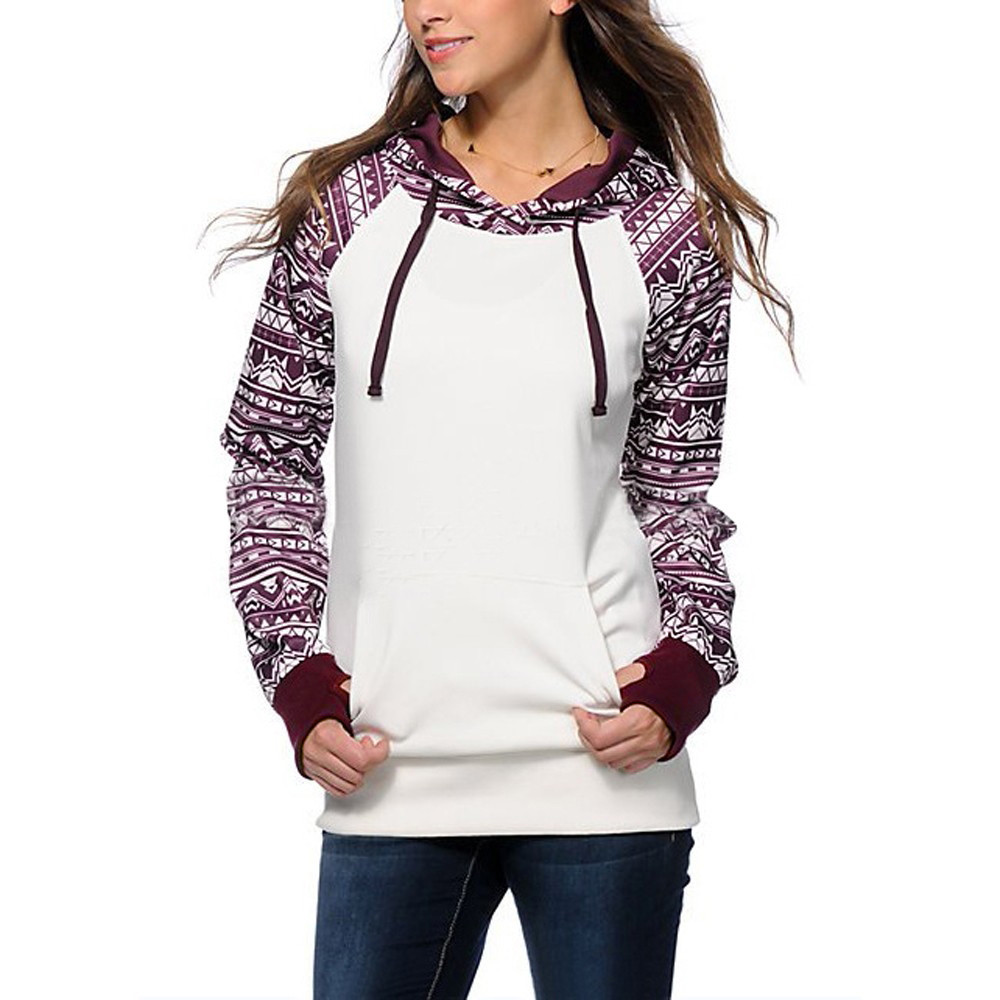 2018 Autunm Casual Sweatshirt Bohemia printing hoodies women women long sleeve cropped hoodie sudadera mujer AG 15