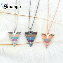 3 Pieces, The Rainbow Series Women Fashion Heart Shape of The Triangle CZ Prong Setting Necklace, 3 Plating Colors,Can Mix цена и фото