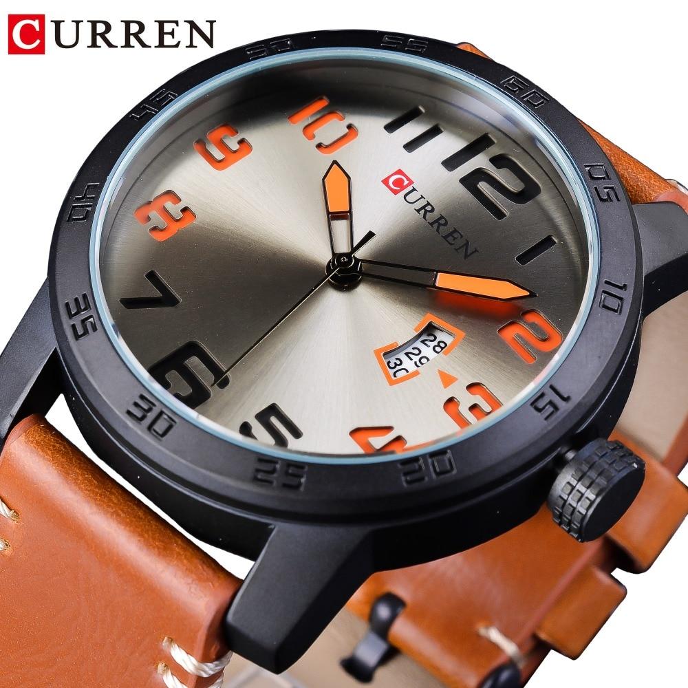 CURREN Brown Genuine Leather Belt Laser Fashion Dial Sport Racing Design Mens Military Quartz Wrist Watch Top Brand Luxury Clock in Quartz Watches from Watches