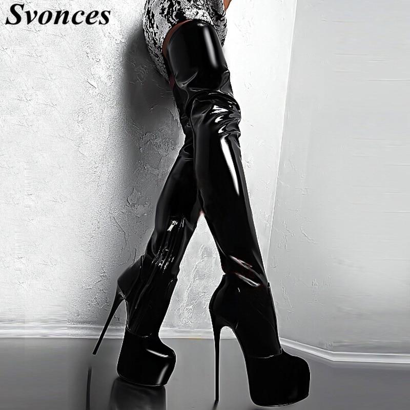 Mujer Femininas Schuhe Dünne Fersen Extreme Botas Knie Salto Große Heels High Über Zapatos Com Stiefel Frau Plattform Größe Das 18qOU1f
