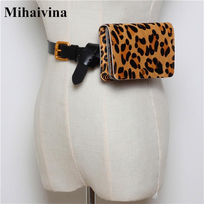 Mihaivina Leopard Women Waist Belt Bag Horsehair Handbag On The Belt Luxury Fanny Pack Women Genuine Leather Belt Waist Packs