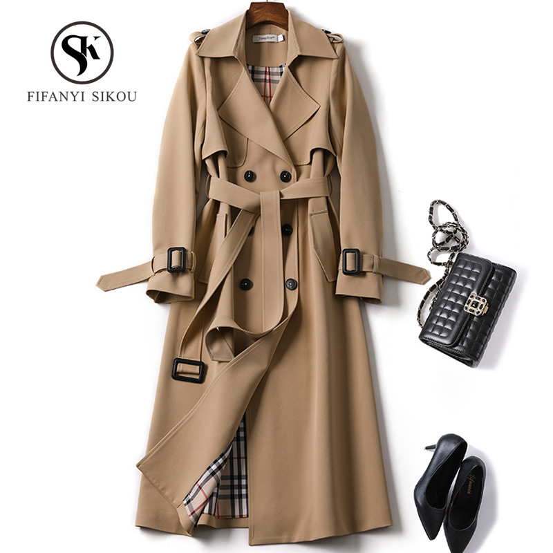 2019 New Spring Long Trench coat women Fashion Classic Double Breasted Belt High quality Trench coat Casual Business Outerwear(China)