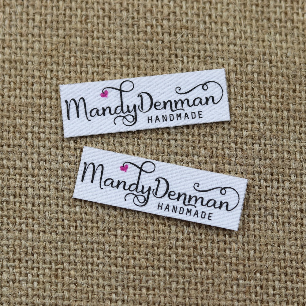 120 Pieces Custom Logo Labels, Name Iron On Label, Custom Clothing Tags, Organic Cotton Labels