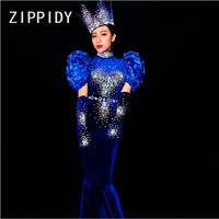 New Fashion Rhinestones Blue Dress Sexy Long Tail Outfit Nightclub Bar Female Singer Show Birthday Party Celebrate Stage Costume