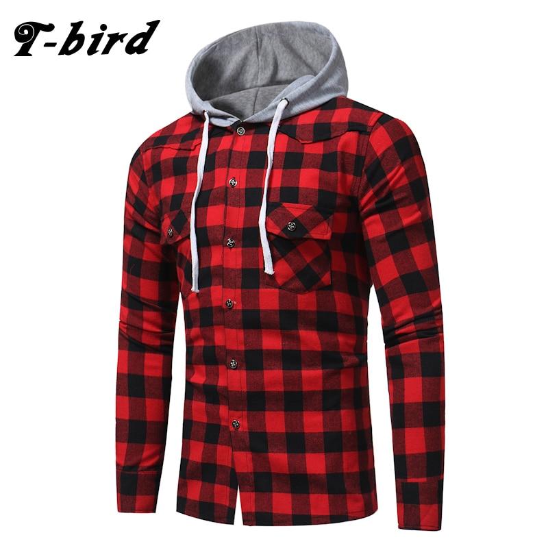 T-bird Shirt Men Long Sleeves Plaid Hooded Shirt 2018 Men'S Dress Shirt Camisa Masculina Male Fashion Slim Fit Hooded Shirt XXL