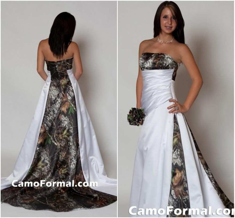 Camo Wedding Dress With Train