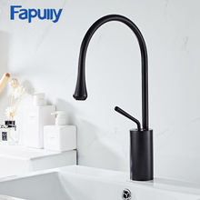 Fapully New Design Matte Black Basin Faucets Outfall Tap Hot and Cold Tap for Bathroom Sink Deck Mounted Water Mixer Crane 1067 цена и фото