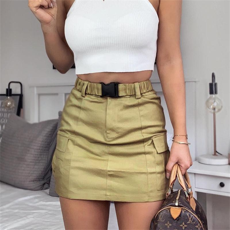 Casual Women Skirts Pencil Buckle Belt High Wiast Short Skirts Khaki Package Hip Bodycon  Slim Thin Lady Skirts Summer Autumn