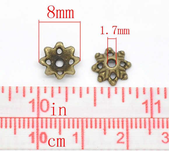 """DoreenBeads สังกะสีโลหะผสมลูกปัดดอกไม้ Antique Bronze (เหมาะกับ 14 มม.-15 มม.) รูปแบบใบ 8 มม.(3/8 """") x 3 มม.(1/8""""),35 PCS"""