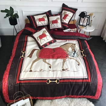 New Luxury European Style War Horse Digital Printing 100% Cotton Palace Bedding set Duvet cover Bed sheet Bed Linen Pillowcases