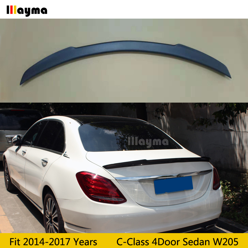 FD Style Fiber glass rear trunk spoiler For Benz C Class W205 C180 C200 C220 C250 2014 2018 years Car spoiler wing Matte black