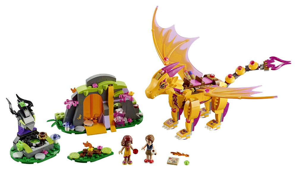 BELA Elves Fire Dragon's Lava Cave Building Blocks Kits For Girl Kids Model Toys Minifigures Marvel Bricks Compatible Legoe