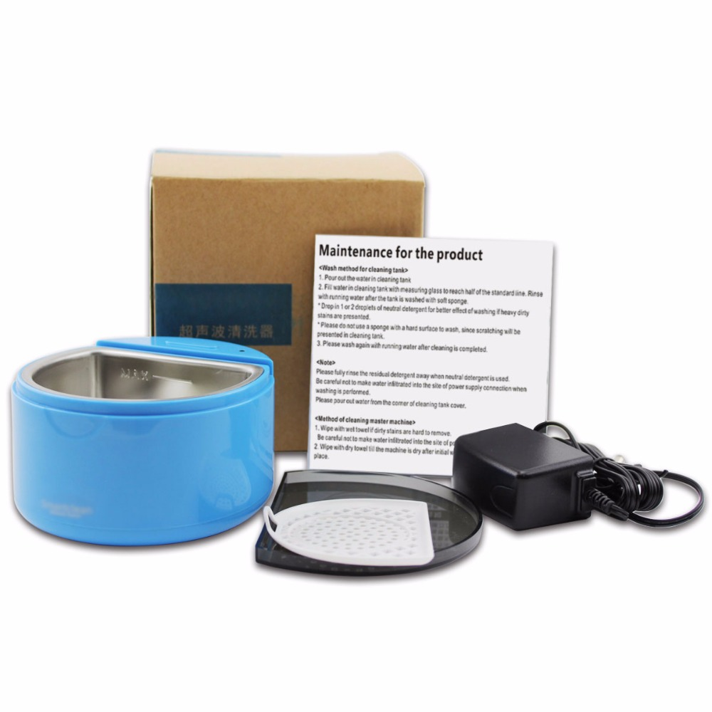 Grinigh Thorough Ultrasonic Cleaner for Dentures Orthodontics Teeth Whitening Mouth Tray Cleaner Remove Dirty Stains Blue Color grinigh teeth whitening thermoforming mouth tray oral hygiene dental mouth guards 200pcs eva medical standard material