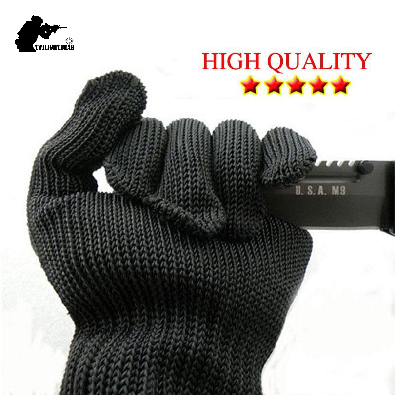 Herren-handschuhe Echt Fünf Ebene Cut-beständig Handschuhe Messer Klinge Cut Beständig Handschuhe Top Qualität Edelstahl Draht Schutz Handschuh Ae20 Heller Glanz