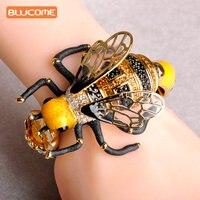 Blucome Cuivre Émail Large Gros Bracelets Fleur Réaliste Abeilles Bracelet Pour Les Femmes Cristal Gommage Transparent Plumes Animal Bracelets
