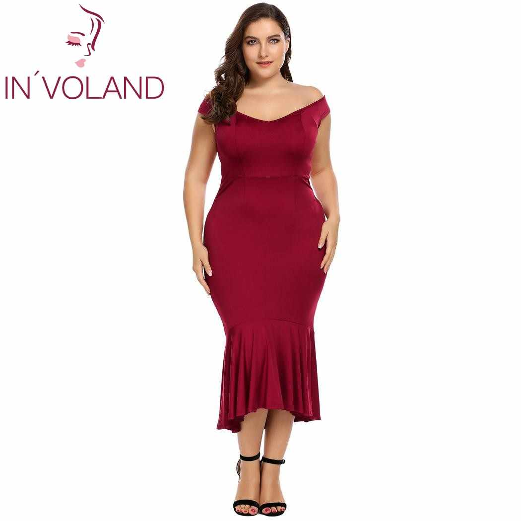 IN VOLAND Women Mermaid tail Dress Plus Size Party Dresses Off Shoulder  Flouncing Mermaid Formal e4e37ef29dcb