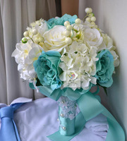 HIgh Quality Handmade Bridal Bouquet Blue White Artificial Rose Flower Bridal Bridesmaid Wedding Holding Flowers Home