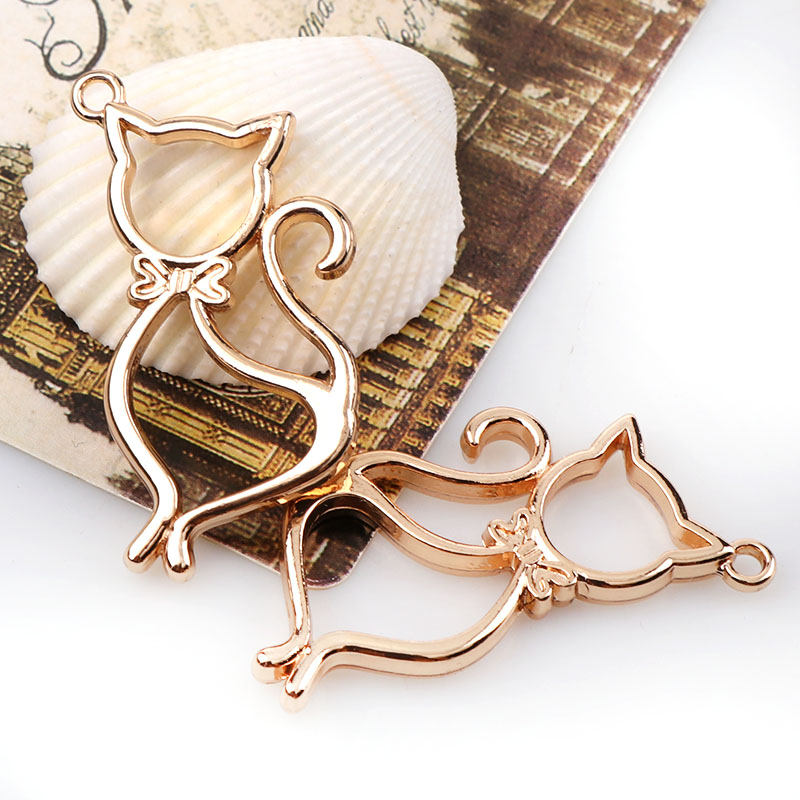 1 PC New Vintage Cat  Antique Rose Gold Metal Hollow Frame Connector Charms Pendant DIY Jewelry Findings Accessories