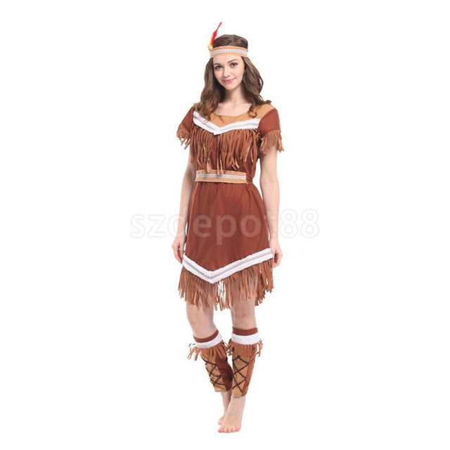 8ad533465c8 US $25.81 |Adult Woman Lady Native American Indian Princess Fancy Dress Up  Halloween Festival Cosplay Party Constume-in Holidays Costumes from Novelty  ...