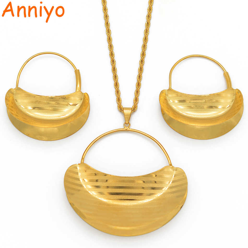 Anniyo Besar Hyperbole Liontin Kalung Anting-Anting Perhiasan Set untuk Wanita Warna Emas Fulani Afrika Ethiopian Pernikahan Hadiah #207206