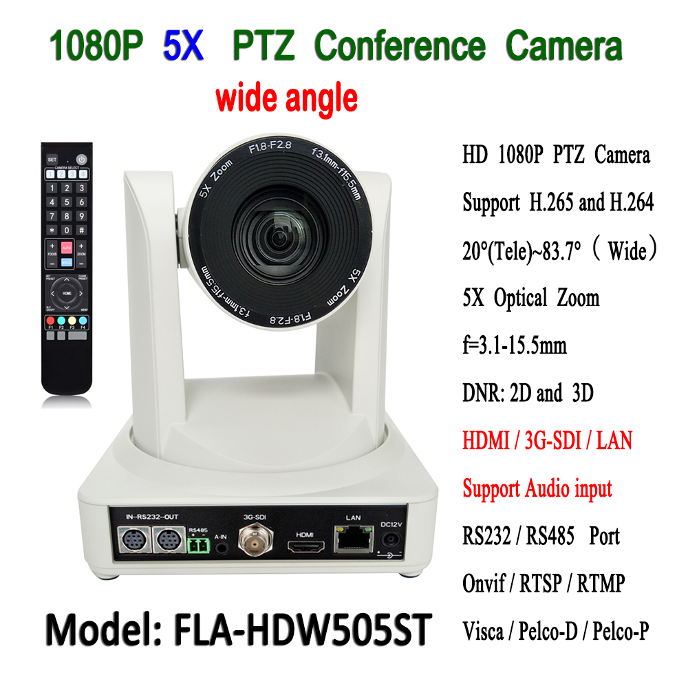 Ethernet interface 5x optical zoom ptz HD 1080P60 IP video conference camera with 3G-SDI HDMI Output image