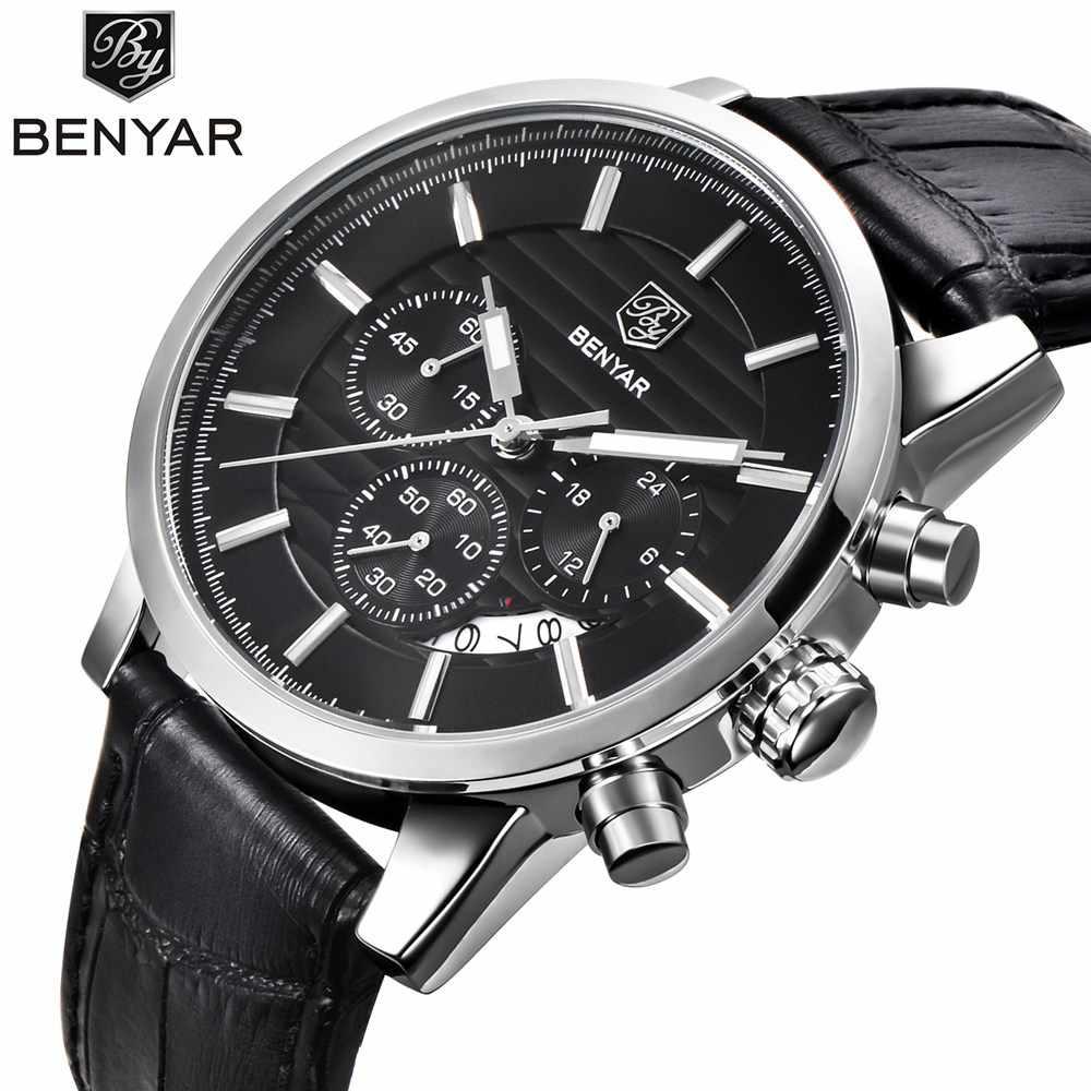 333259f01226 BENYAR Hombres Relojes de Primeras Marcas de Lujo de Negocios A Prueba de  agua Deporte Cronógrafo